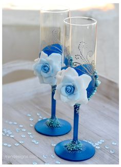 Blue Wedding Glasses! @Mandy Bryant Dewey Seasons Bridal