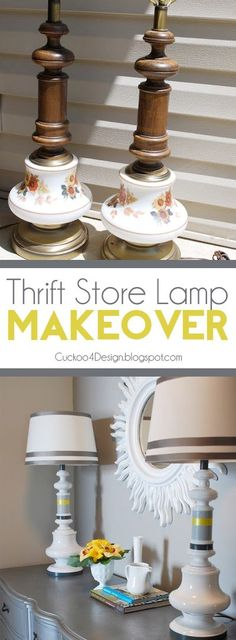 Nothing like finding a thrift store find and turning it into a decor dream! Look at this tutorial at Cuckoo 4 Design: Thrift Store Lamp Makeover. Crafts that involve a little paint and DIY time are perfect. Do It Yourself Furniture, Do It Yourself Home, Lamp Makeover, Furniture Makeover, Lamp Redo, Chandelier Makeover, Repurposed Furniture, Painted Furniture, Furniture Projects