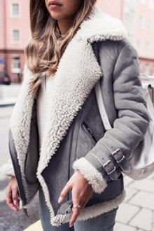 Suede Lapel Collar Long Sleeve Woolen Liner Coat