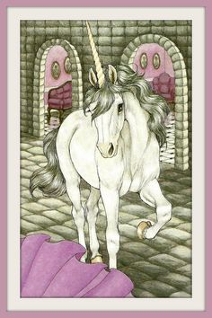 Unicorn Art Print - Unicorn in Castle - 1980s Vintage Book Plate Illustration - Buy 2 Art Prints, Get a 3rd Free