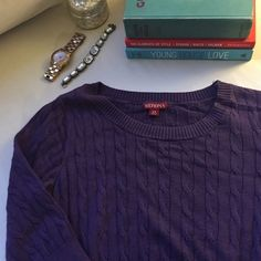 """Purple cable knit sweater dress Cute and cozy sweater dress that's perfect for work or layered with a button-up blouse below for weekend brunch. Measures approx. 36"""" from shoulder to hem. No trades. Happy to bundle! Merona Dresses"""