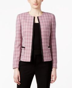 Tahari ASL Tweed Soutache-Trim Jacket - Jackets - Women - Macy's