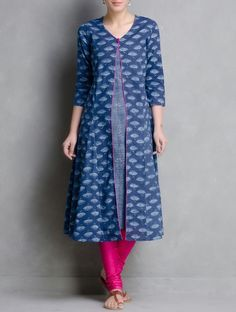 Buy Indigo Hand Block Printed Layered Cotton Kurta by Aavran Apparel Tunics & Kurtas Online at Jaypore.com
