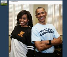 "President Barack Obama and First Lady Michelle Obama sport their college t-shirts in support of the First Lady's ""Reach Higher"" initiative on College Signing Day, (Official White House Photo by Pete Souza) Michelle Obama, First Black President, Our President, Madam President, Trey Songz, Big Sean, My Black Is Beautiful, Black Love, Beautiful Couple"