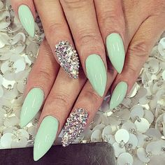 Mint and bling nails