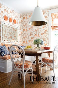 Waterbury Trail Wallpaper & Waterbury Printed Fabric in Orange from the Avalon Collection by #Thibaut    #kitchen #creamsicle