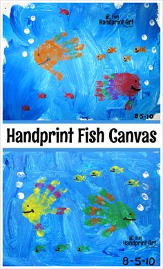 Canvas Art: Handprint Fish Painting Craft for Kids Canvas Art: Handprint Fish Painting Craft for Kids Painting Crafts For Kids, Art For Kids, Kids Fun, Toddler Art, Toddler Crafts, Kids Canvas Art, Sea Crafts, Footprint Art, Handprint Art