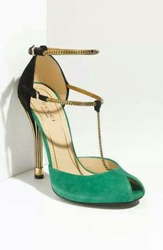 Green, black and gold heels