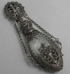 Old silver bottles for chatelaine | Beautiful Antique Victorian Silver Chatelaine Scent Perfume Bottle ...
