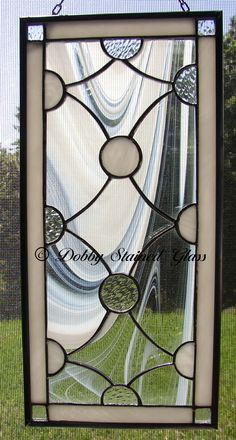 Stained Glass Panel - White Circles & Swirls