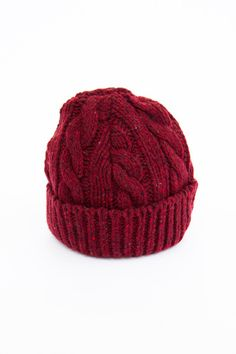 Oliver Spencer Chunky Cable Knit Hat - Red Fleck