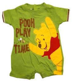 Amazon.com: Winnie The Pooh Play Time Disney Cartoon Embroidered Baby Creeper Romper Snapsuit: Clothing