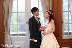 hk0183 シックなトーンのピンク系の花冠&ブーケ アーティフィシャルフラワー@銀行倶楽部 ys floral deco