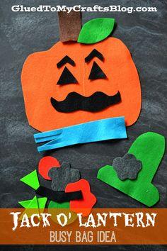 Glued to my Crafts: Felt Jack O' Lantern {Busy Bag Idea}