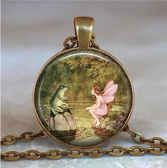 Frog and Fairy pendant frog and fairy by thependantemporium