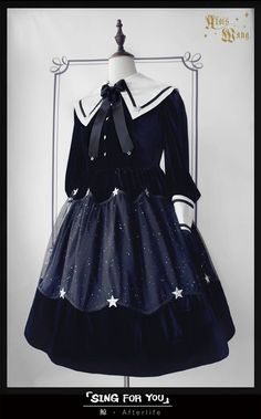 AloisWang -Quiet Night and Starry Sky- Lolita OP Dress,Lolita Dresses, Old Fashion Dresses, Fashion Outfits, Fashion Boots, Kawaii Fashion, Cute Fashion, Rock Fashion, Cosplay Outfits, Dress Outfits, Scene Outfits