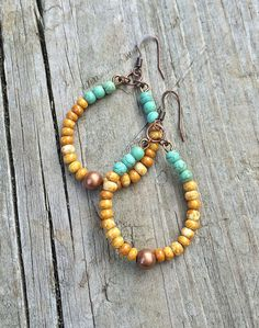 Boho Earrings Boho Jewelry Colorful Hoop Earrings by Lammergeier