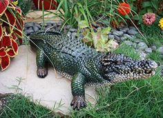 Find amazing Atlantic Collectibles Realistic Guest Shock Greeter Alligator Crocodile Garden Statue gator gifts for your gator lover. Great for any occasion! Concrete Statues, Pond Filters, Outdoor Statues, 21st Gifts, Garden Stakes, Blue Heron, Diy Stuffed Animals, Garden Flags, Lawn And Garden