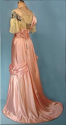 Antique Dress - c. 1912 Museum Quality Opulent Pink Silk Trained Evening Gown with Lace and Beading