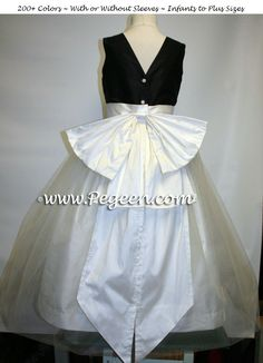 688afe94e83 Flower Girl Dresses in Black and New Ivory with a V-Back Style 394