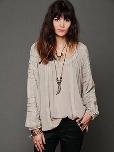 Beaded Wavelengths Tunic  Like the stitched detail and the jewelry, too :-)  freepeople