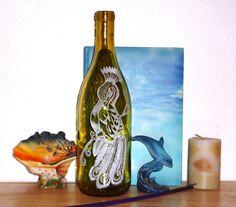 Incense burner Glass bottle- Hand Etched- Peacock $25.00