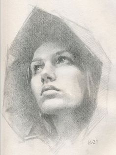 Jeff Hein, pencil {beautiful female head hooded woman face portrait drawing} jeffhainesart.com