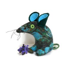 Retro Mouse  in Vintage Fabric 50s Aqua Green by WittyDawnUK