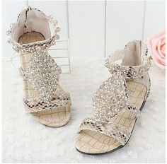 Free Shipping children's summer shoes girls sandals for kids with leather crystal fashion cute lovely for female child#575