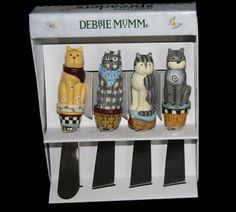 4 Debbie Mumm GARDEN CAT Cheese Spreaders NIB VHTF