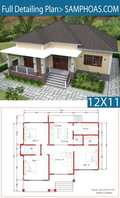 Interior Design Plan with Full Plan Interior House Design design Full Interior Plan Model House Plan, House Layout Plans, Family House Plans, Dream House Plans, House Layouts, Bungalow Haus Design, Modern Bungalow House, Bungalow House Plans, House Construction Plan