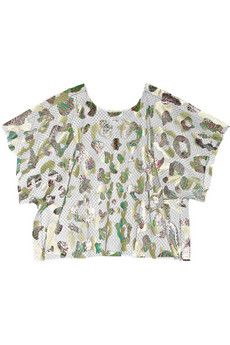 Julien David Foil-print tulle top | NET-A-PORTER | interesting use of both tulle and metallic foil to make a fabric that is then used to create piece that adorns other pieces of clothing. adorn square!