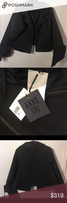 Anna Sui Black Moto Jacket NWT. Medium Anna Sui Black Moto Jacket. New with tags. Beautifuly made jacket. Size Medium. Silk tie details at cuffs. Anna Sui Jackets & Coats