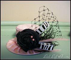 Mini Top Hat  Alice in Wonderland Baby Pink and Black Zebra  Birthday Hat Photography Prop