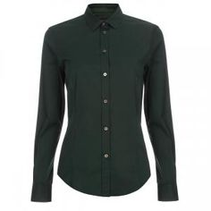Paul Smith Women's Green Cotton Shirt With 'Painterly Camo' Cuff Linings