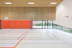 Gallery of School Gymnasium in Neuves Maisons / Giovanni PACE architecte + abc-studio – 1 - Bildung Hall Design, Gym Design, School Design, Education Architecture, School Architecture, Interior Architecture, Multipurpose Hall, School Hall, Abc Studios