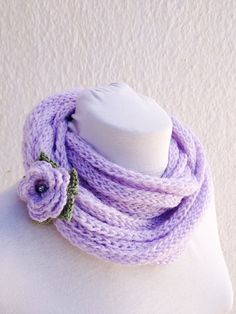 Lilac infinity scarf  wool chain necklace  Crochet by NesrinArt, $21.00