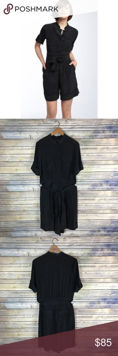 "Marc by Marc Jacobs Stara Silk Black Romper Lustrous crepe de Chine elevates a chic and easy romper designed with a wide, tie-wrapped waist and neatly cuffed hems. Gently used with no flaws!   Measurements laying flat (without stretching)-- -Armpit to armpit: 20.5"" -Waist: 16.5"" -Length, shoulder to hem: 38"" Marc By Marc Jacobs Pants Jumpsuits & Rompers"