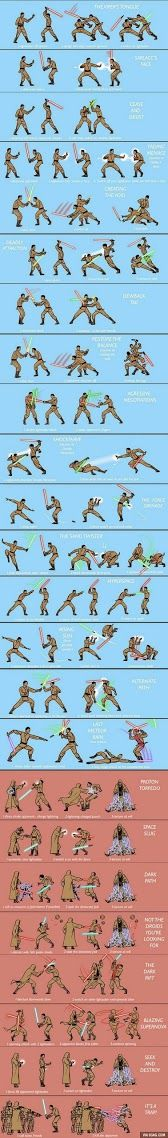 Star Wars Lightsaber fighting techniques