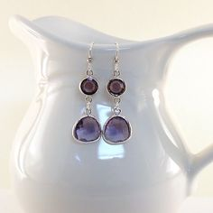 Earrings Tanzanite Purple With Silver by CinLynnBoutique on Etsy