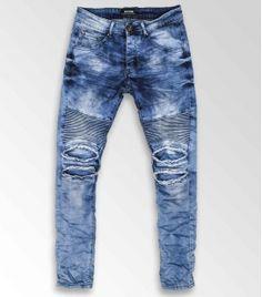 Jeans Biker & Destroy Stretch Slim Homme Javel ZS665 - BLEU 49,9€