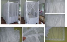 Tela mosquiteiro para cama infantil de 2m x 0,93m. O mosquiteiro é confeccionado com pregas em todo o contorno da cama. Tecido utilizado: tule francês na cor branca todo contornado com renda na cor branca. Metragens: 17 metros de tule francês, 26m de renda de 4cm e 15 metros de viés branco. Fly net over bed.