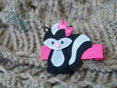 Woodland Skunk Ribbon Sculpture Hair Clip, Woodland Creatures Collection, Forest Animal Hair Bow