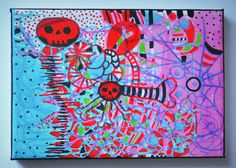 New Gothic Psychedelic Gothic Creepy Cute Art,Painting Sale,Bright Red,Neon…