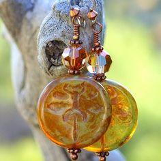 Dragonfly Earrings Handmade Czech Glass Swarovski Amber Sage Jewelry | @shadowdog - Jewelry on ArtFire