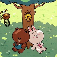 Line Brown Bear, Brown Line, Cute Couple Cartoon, Cute Love Cartoons, Cute Emoji Wallpaper, Love Wallpaper, Line Illustration, Character Illustration, Bear Gif