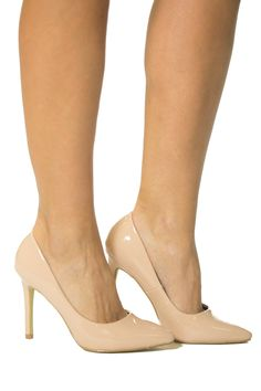 Everyone needs a classic pair of pumps. These are patent leather with a comfortable heel height.