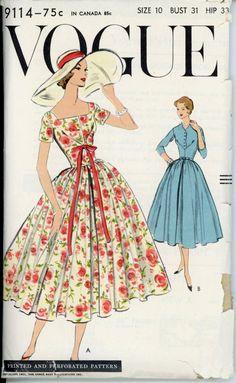 Vogue 9114 Misses 1950s Full Skirt Dress Pattern Vintage Sewing Patterns b4da3413d665