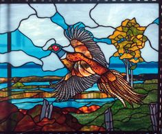 Pheasant stained glass art from Gilbertson's Stained Glass Studio in Lake Geneva. Stained Glass Studio, Custom Stained Glass, Stained Glass Birds, Stained Glass Windows, Butterfly Art, Nature Scenes, Glass Design, Cut Glass, Pattern Art