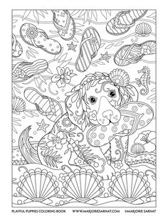 Flip Flops Playful Puppies Coloring Book By Marjorie Sarnat